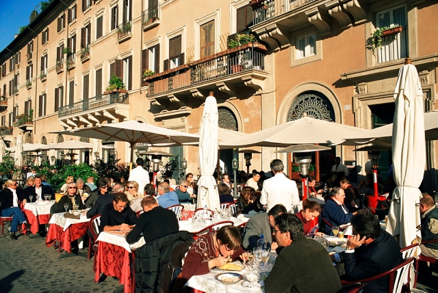 Outdoor cafe, Piazza Navona, Rome, Lazio, Italy, Europe